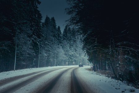 winter snowy road. snow lies near the road. winter picture
