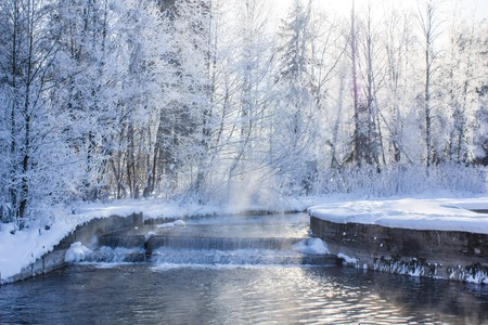 Winter landscape in clear weather. Morning bright sun. Snow plays shine. Winter picture. Frosty Snow Park Stock Photo