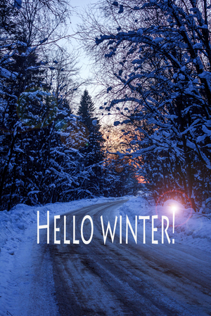 Hello winter banner. The onset of the new season. Welcome picture Stock Photo