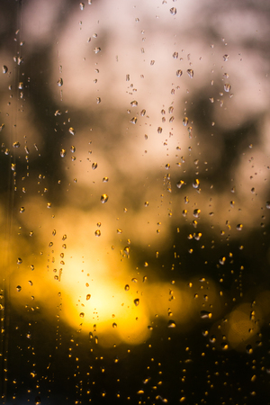 water drops on the glass. Texture of a drop of water. Bad mood. Water and rain Stock Photo