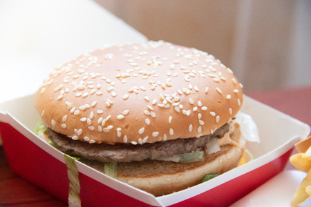 Big Mac and French Fries from McDonalds in Russia. Unhealthy food. Cholesterol and obesity. Russia, St. Petersburg, January 22, 2019: Hamburger menu at McDonalds French Fries, Big Mac. Fast food concept