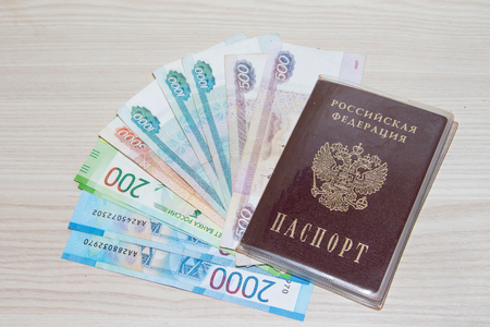 Passport and Russian money. Preparing for the trip. Money and passport. Vacation