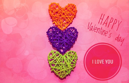 Greeting card Happy Valentines Day. Romantic holiday. Feast of love. Love and happiness