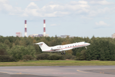 TC-TRH - G450 . The plane takes off. Official summer spotting at Pulkovo Airport on August 15, 2018, Russia, St. Petersburg, Pulkovo