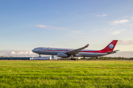The aircraft is landing. Airbus A330-300. Official summer spotting at Pulkovo Airport on August 15, 2018, Russia, St. Petersburg, Pulkovo