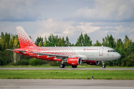 Airplane at the airport. The plane of the airline of Russia. Official summer spotting at Pulkovo airport on August 15, 2018, Russia, St. Petersburg, Pulkovo