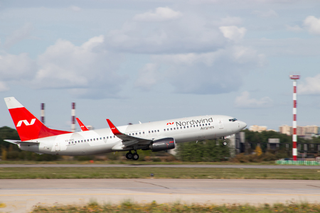 The plane goes on takeoff. Airlines Nordwind. Official summer spotting at Pulkovo airport on August 15, 2018, Russia, St. Petersburg, Pulkovo