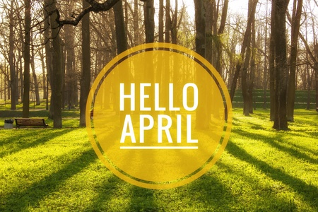 Banner hello april. Hi spring. Hello April. Welcome card We are waiting for the new spring month. Spring month. The second month of spring. Stockfoto