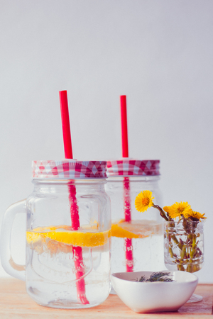Glasses with homemade lemon lemonade. cold drink. Carbonated drink Stok Fotoğraf