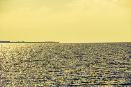 Gulf of Finland in daylight. Bay in the afternoon. Sea and Waves