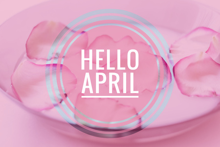 Banner hello april. Hi spring. The second month of spring. Welcome card Hello new month