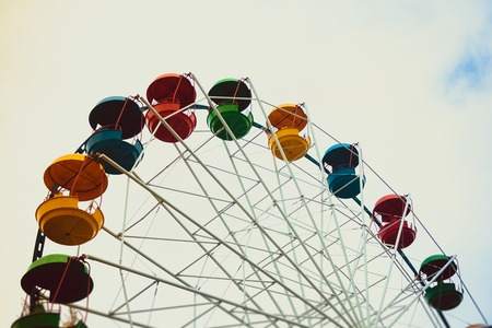 Attraction Ferris Wheel. Attraction without people. Overview of the city. Climb high Stock Photo