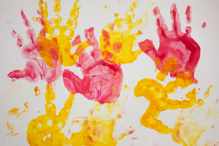 Children's drawing on paper. Children's drawing paints. Dirty on paper