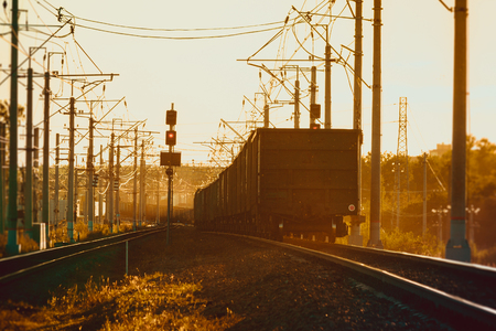 Rails of the Russian railway at sunset. Railway. Rails and sleepers