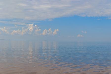 Blue sea . Gulf of Finland in the summer. Sea in calm weather. Baltic Sea. Cold sea
