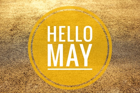 Banner hello may. Text on the photo hello May. Welcome card New month Stock Photo