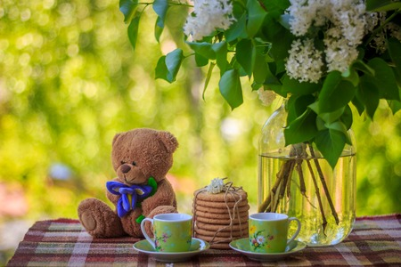 A cup of tea, cookies and flowers of lilac. Tea on the balcony. Tea drinking in nature. Bouquet of flowers . Stock Photo