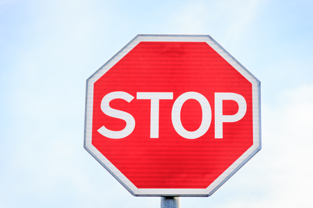 Car stop sign on the move. Russian signs. Stop sign