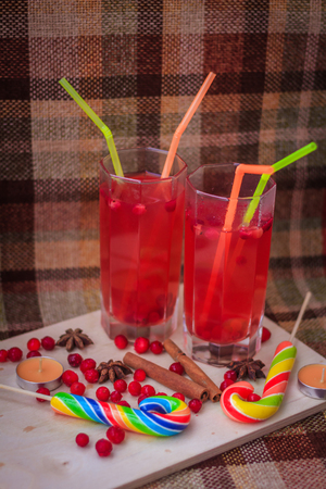 Cranberry juice in glasses. Healthy drink. Red drink in glasses. Glass with a straw Stock fotó