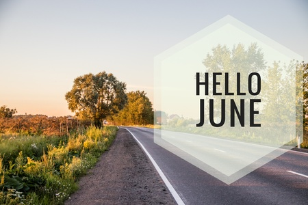 Banner hello june. Text on the photo. Text hello June. New month. New season. Summer month. Stock fotó