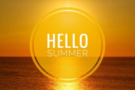 Hello summer banner. Text on the photo. Text hello summer. New month. New season. Summer. Text on photo sunset. Summer sunset. Nature Imagens