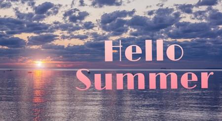 Hello summer banner. Text on the photo. Text hello summer. New month. New season. Summer. Text on photo sunset. Summer sunset. Nature Stockfoto