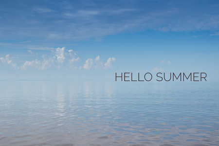 Hello summer banner. Text on the photo. Text hello summer. New month. New season. Welcome card Nature