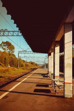 Railway station in the Russian village. Russian railway. Public transport. Shipping Zdjęcie Seryjne - 122648286