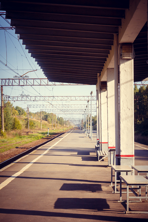 Railway station in the Russian village. Russian railway. Public transport. Shipping