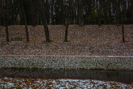 Autumn park and the first snow. Two seasons in one photo. Winter and autumn. Yellow leaves and snow