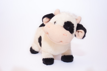 Soft toy cow isolated on white background. Isolated object. Children's toy Banque d'images - 122655436