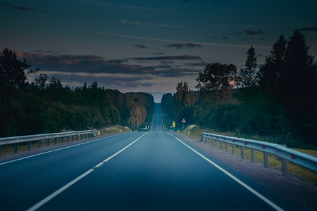 Asphalt Russian road. Travel by road. Road views 写真素材