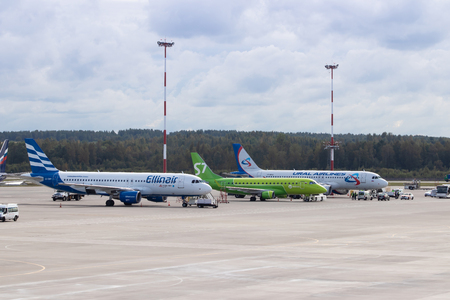 Aircraft at the airport. Aircraft parking. Preparing for the flight. Russia, St. Petersburg, Pulkovo, official spotting on August 15 2018