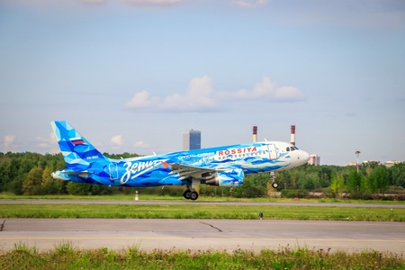 Airline Russia Zenith. Airplane at the airport. Airplane before takeoff. Russia St. Petersburg Pulkovo official spotting August 15, 2018