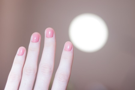 Pink solid color manicure on female hands. Gentle manicure. Gel polish. Well-groomed nails. Monophonic manicure