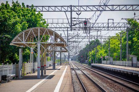 Russian railway. Summer railway. Rails and sleepers Transport Zdjęcie Seryjne