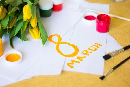 Tulips paper gouache. Draw a postcard. Postcard on March 8. Womens holiday. Flowers and postcard Zdjęcie Seryjne
