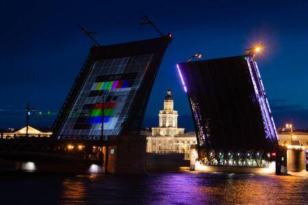 Dilution of bridges in St. Petersburg. Peter Romance. Sight of Peter. Neva River. Dawn in the city. White Nights. Drawbridges. Russia St. Petersburg June 11, 2019 Editorial