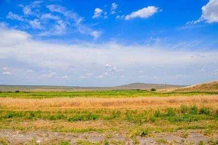 Russische Freiflächen. Krim. Feld. Sommer russische Landschaften. Straßenansichten. Gras und Himmel. Hintergrund Sommerlandschaft. Krimfelder