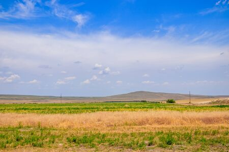 Russian open spaces. Crimea. Field. Summer Russian landscapes. Road views. Grass and sky. Background summer landscape. Crimean fields Banco de Imagens