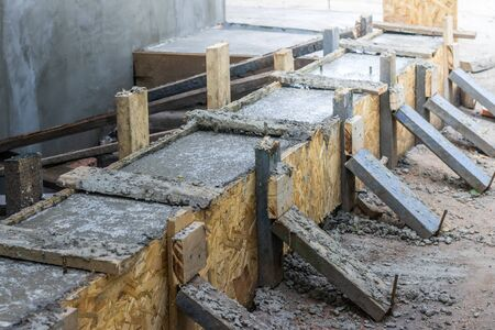 Pouring the concrete base of the house. Formwork Home construction. Technology pouring concrete. Restoration of formwork of a multi-storey building. Pouring concrete