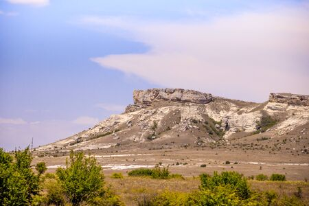 White rock in the Crimea. White rock Sights of Crimea. High rock Rocky mountain Mountain background