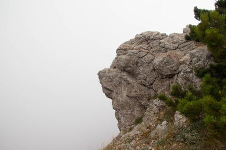 Ai-petri mountain in the fog. High mountain. Crimea. Russian mountains. Low clouds. Beautiful mountain landscape. The famous AI Petri mountain, partially covered with clouds, fog, one of the highest points of the Crimea, is majestic and beautiful. Zdjęcie Seryjne
