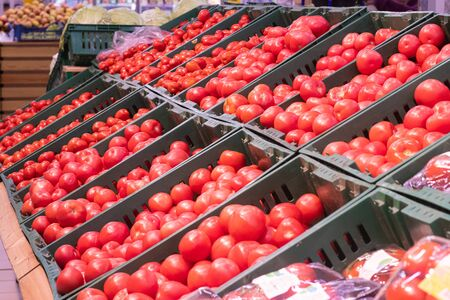 Showcase with tomatoes in a supermarket. A lot of red tomato. The choice of products. Abundance of vegetables