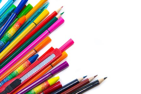 Color school supplies isolated on white Stock Photo