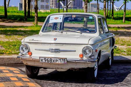 Retro exhibition of an old motor vehicle. Old transport. Reconditioned cars. Russia, St. Petersburg May 25, 2019
