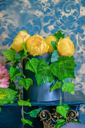Artificial flowers made of paper . Decoration. Decor. Corrugated paper.