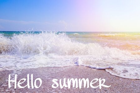 Banner Hello summer with  Sea wave. Imagens
