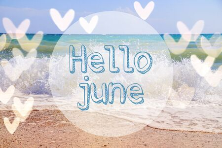 Banner Hello June with sea wave. Banco de Imagens