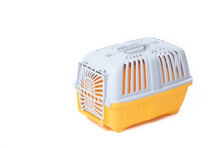 Carrier for cats and small dogs isolated on a white